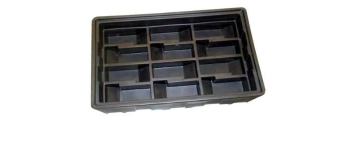 Stackable polyethylene box used in the automotive industry for transporting fragile car components
